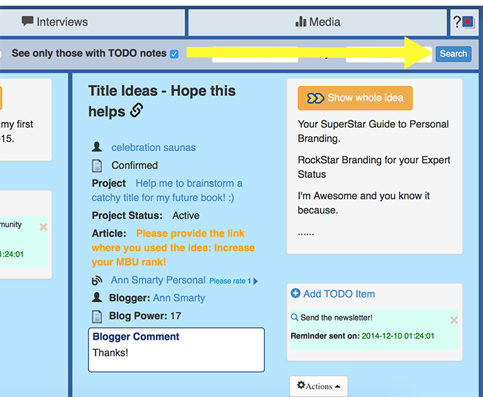 See only ideas with TO-DO tasks assigned to them