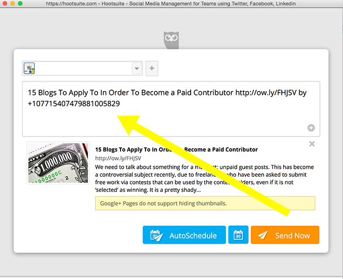 posting to Google Plus from Hootsuite and tagging a user