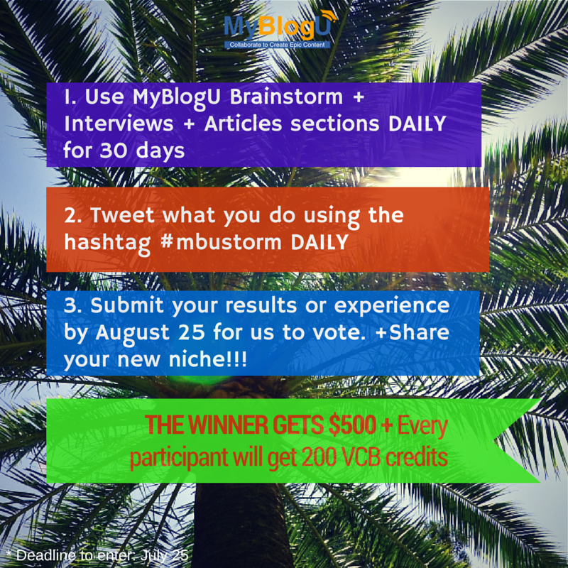Win $500 by brainstorming daily!