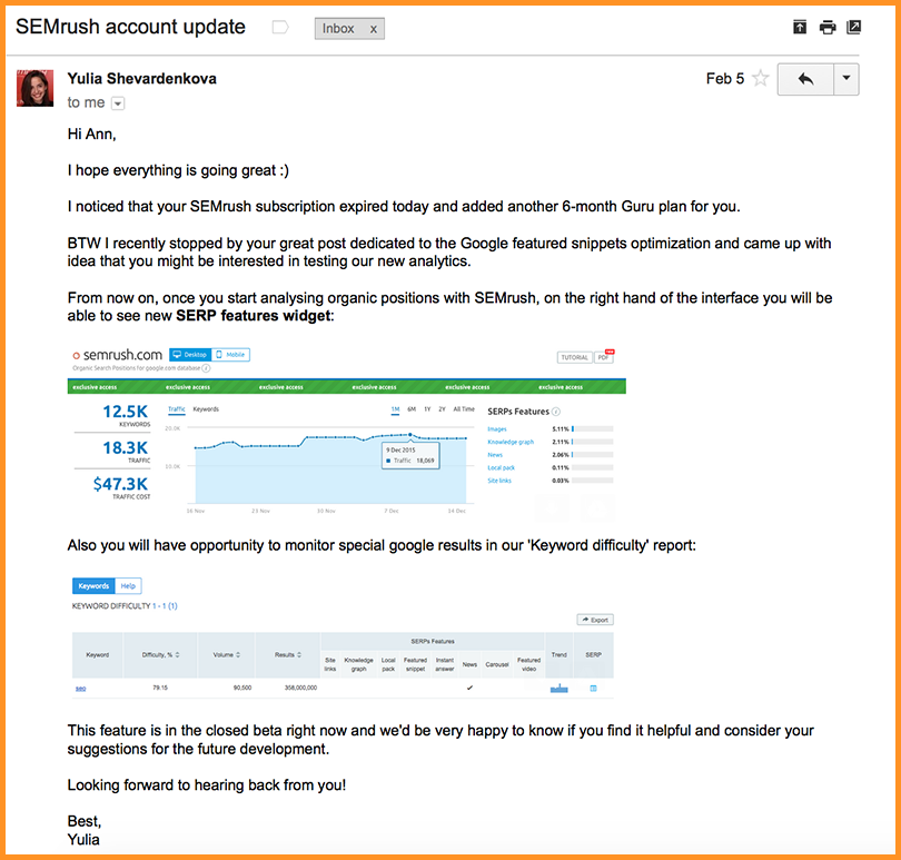 SEMrush outreach email